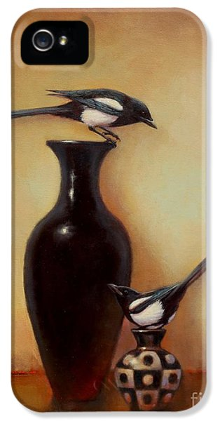 Magpies iPhone 5s Case - Yin Yang - Magpies  by Lori  McNee