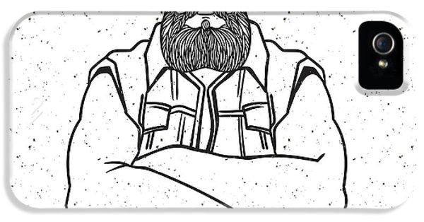 Etching iPhone 5s Case - Young Man Bearded Biker. Hand Drawing by Shik shik