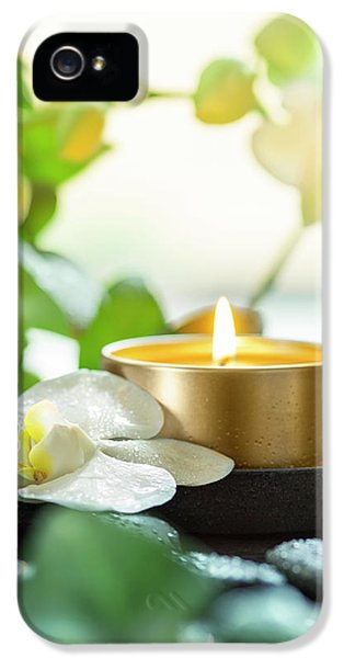 Orchid iPhone 5s Case - Zen Orchid And Candle by #name?
