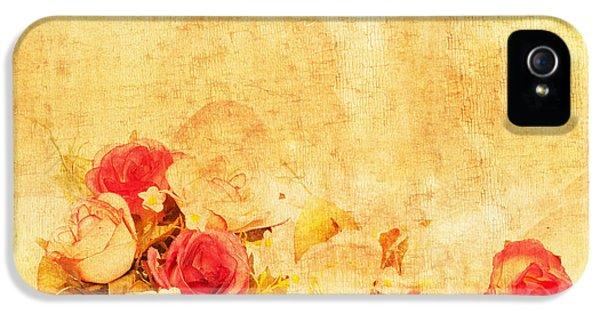 Rose iPhone 5s Case - Retro Flower Pattern by Setsiri Silapasuwanchai
