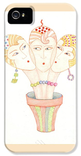 IPhone 5s Case featuring the painting Flower Pot Ladies by Nareeta Martin