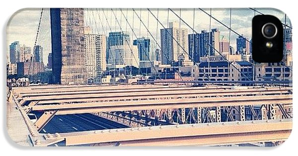 Blue iPhone 5s Case - Another Day On Brooklyn Bridge by Randy Lemoine