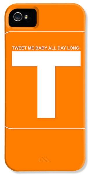 Harvard iPhone 5s Case - Tweet Me Baby All Night Long Orange Poster by Naxart Studio