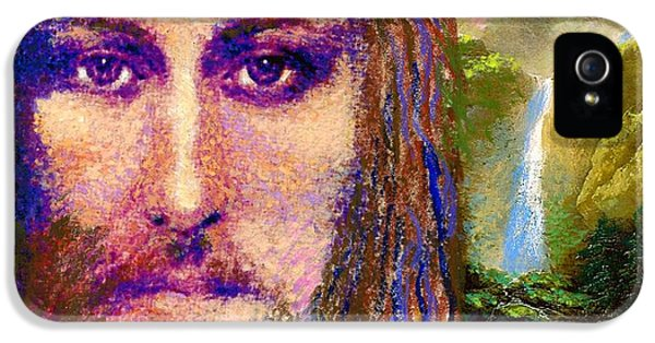 Figurative iPhone 5s Case -  Contemporary Jesus Painting, Chalice Of Life by Jane Small