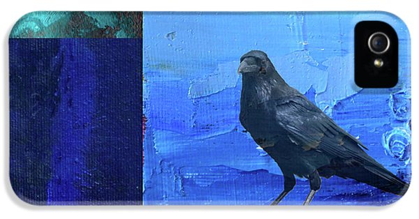 IPhone 5s Case featuring the digital art Blue Raven by Nancy Merkle