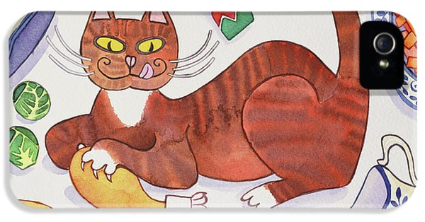 Christmas Cat And The Turkey IPhone 5s Case by Cathy Baxter