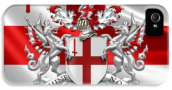 London iPhone 5s Case - City Of London - Coat Of Arms Over Flag  by Serge Averbukh