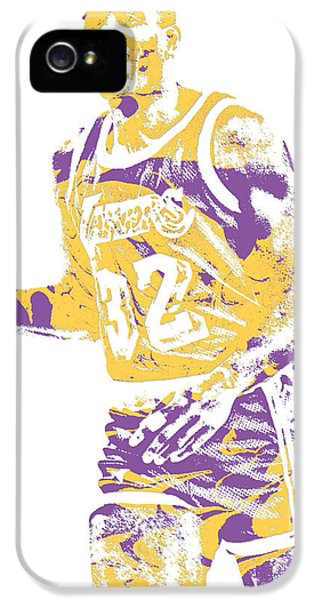 Magic Johnson iPhone 5s Case - Magic Johnson Los Angeles Lakers Pixel Art 5 by Joe Hamilton