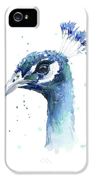 Peacock Watercolor IPhone 5s Case by Olga Shvartsur