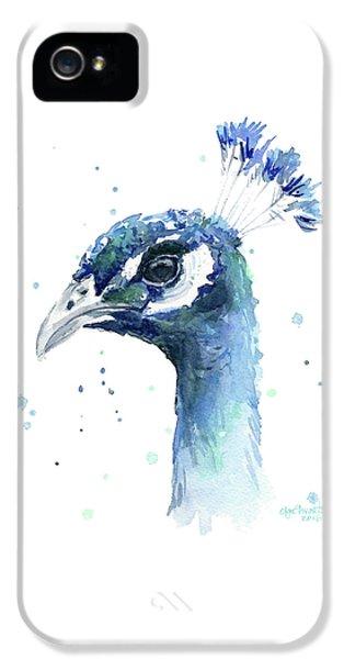 Peacock iPhone 5s Case - Peacock Watercolor by Olga Shvartsur