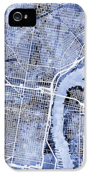 Philadelphia Pennsylvania City Street Map IPhone 5s Case by Michael Tompsett