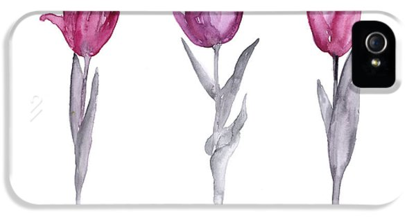 Garden iPhone 5s Case - Purple Tulips Watercolor Painting by Joanna Szmerdt