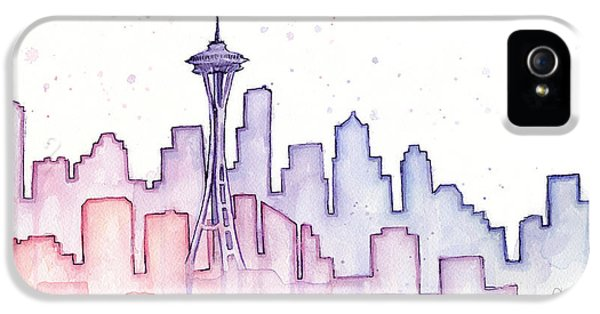 Seattle Skyline iPhone 5s Case - Seattle Skyline Watercolor by Olga Shvartsur