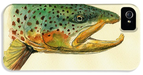 Trout Watercolor Painting IPhone 5s Case by Juan  Bosco