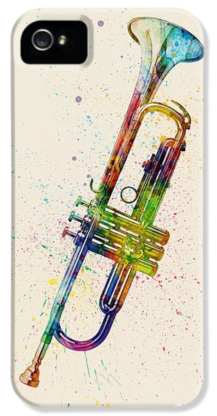Trumpet iPhone 5s Case - Trumpet Abstract Watercolor by Michael Tompsett