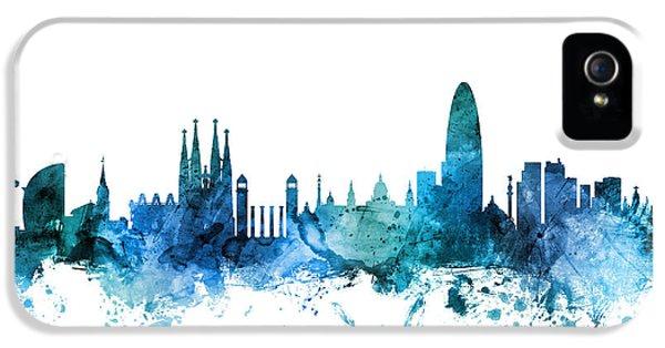 Barcelona iPhone 5s Case - Barcelona Spain Skyline by Michael Tompsett