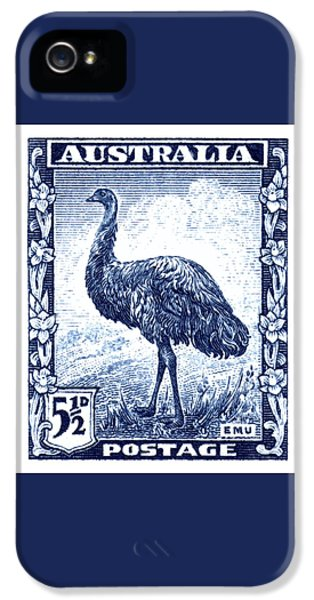 Emu iPhone 5s Case - 1942 Australia Emu Bird Postage Stamp by Retro Graphics
