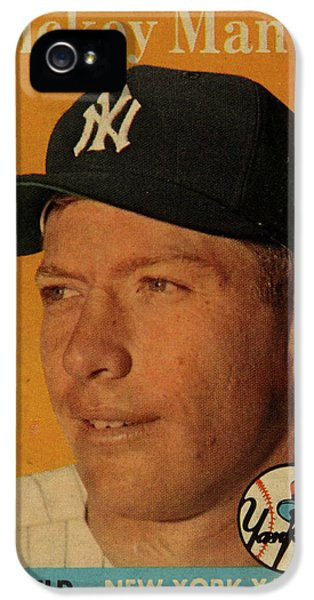 1958 Topps Baseball Mickey Mantle Card Vintage Poster IPhone 5s Case by Design Turnpike