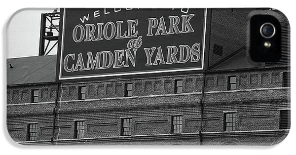 Oriole iPhone 5s Case - Baltimore Orioles Park At Camden Yards Bw by Frank Romeo