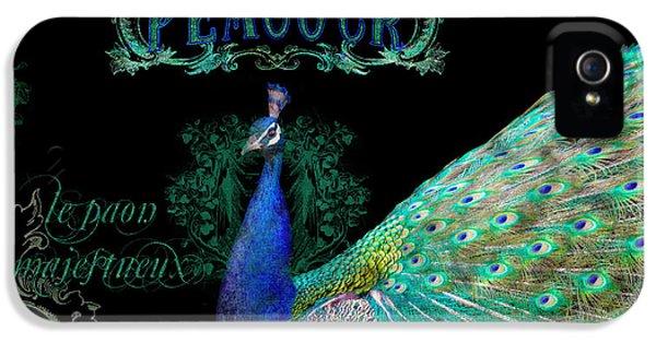Elegant Peacock W Vintage Scrolls  IPhone 5s Case by Audrey Jeanne Roberts