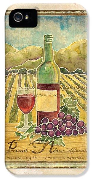 Vineyard Pinot Noir Grapes N Wine - Batik Style IPhone 5s Case by Audrey Jeanne Roberts