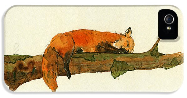 Fox Sleeping Painting IPhone 5s Case by Juan  Bosco