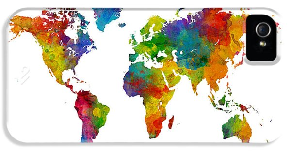 Planets iPhone 5s Case - Map Of The World Map Watercolor by Michael Tompsett