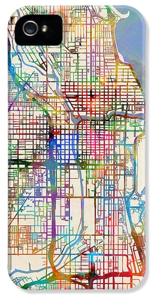 Chicago iPhone 5s Case - Chicago City Street Map by Michael Tompsett