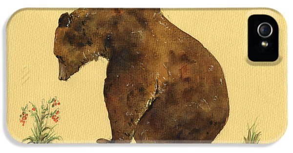 Grizzly Bear Watercolor Painting IPhone 5s Case by Juan  Bosco