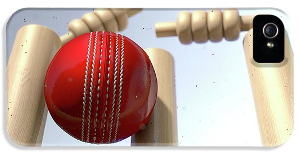 Cricket iPhone 5s Case - Cricket Ball Hitting Wickets by Allan Swart