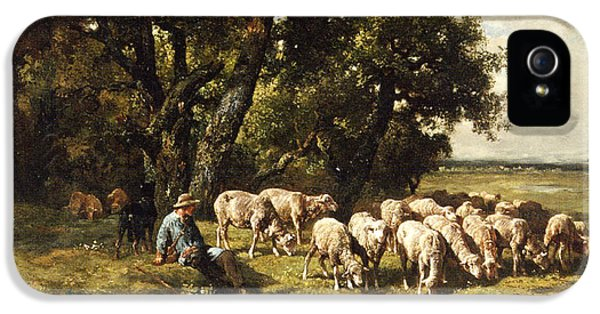 Sheep iPhone 5s Case - A Shepherd And His Flock by Charles Emile Jacques