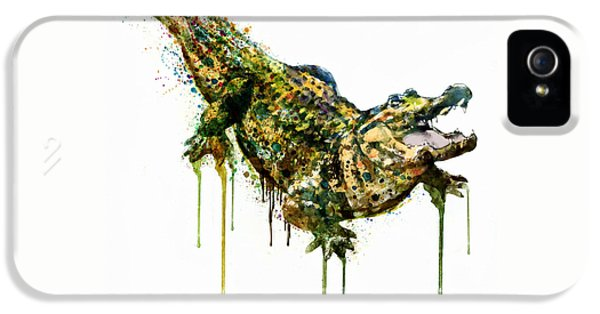 Alligator Watercolor Painting IPhone 5s Case by Marian Voicu