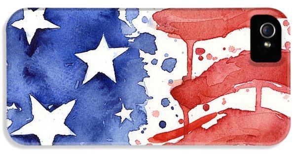 Landmarks iPhone 5s Case - American Flag Watercolor Painting by Olga Shvartsur