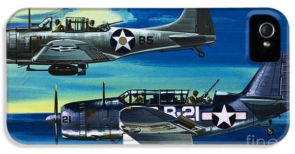 American Ww2 Planes Douglas Sbd1 Dauntless And Curtiss Sb2c1 Helldiver IPhone 5s Case by Wilf Hardy