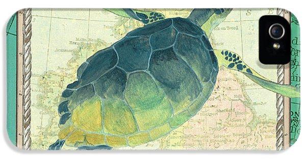 Reptiles iPhone 5s Case - Aqua Maritime Sea Turtle by Debbie DeWitt