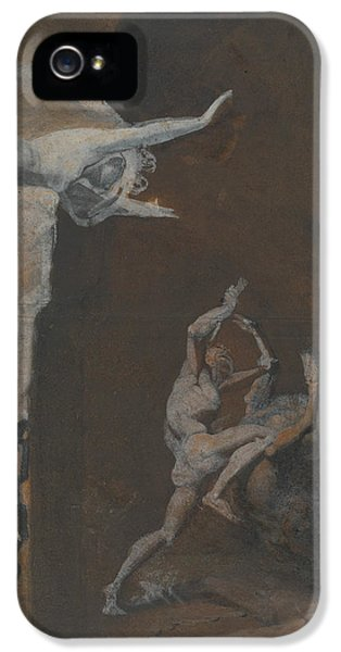 Minotaur iPhone 5s Case - Ariadne Watching The Struggle Of Theseus With The Minotaur by Henry Fuseli