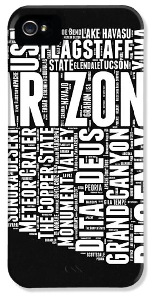 Arizona Black And White Word Cloud Map IPhone 5s Case by Naxart Studio