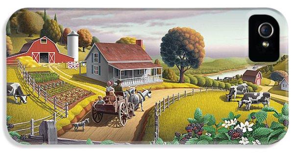 Nostalgia iPhone 5s Case -  Appalachian Blackberry Patch Rustic Country Farm Folk Art Landscape - Rural Americana - Peaceful by Walt Curlee