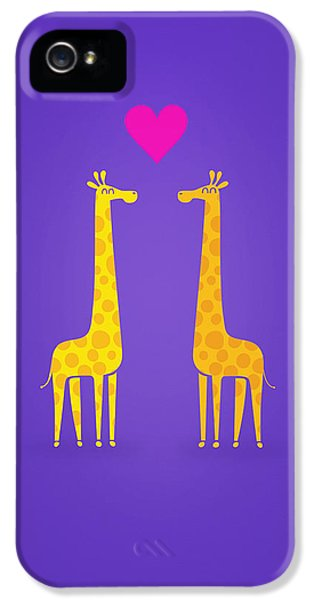 Cute Cartoon Giraffe Couple In Love Purple Edition IPhone 5s Case by Philipp Rietz