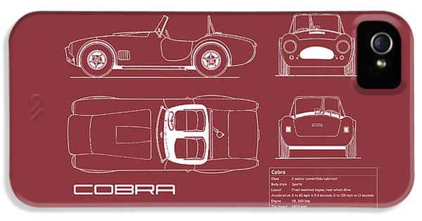 Ac Cobra Blueprint - Red IPhone 5s Case by Mark Rogan