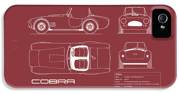 Ac Cobra Blueprint - Red IPhone 5s Case by Mark Rogan