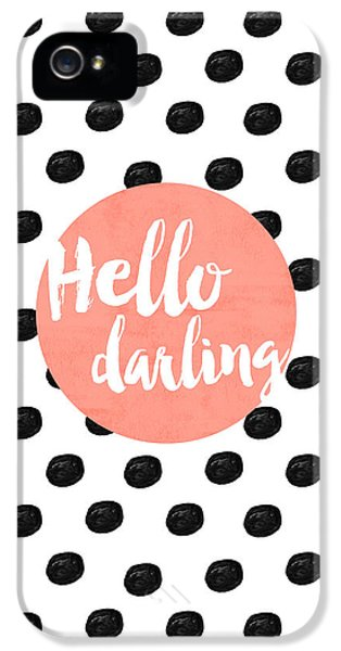Hello Darling Coral And Dots IPhone 5s Case by Allyson Johnson
