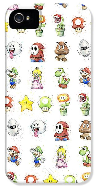 Peach iPhone 5s Case - Mario Characters In Watercolor by Olga Shvartsur
