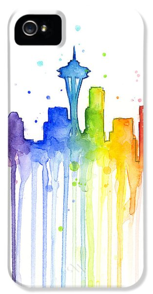 Seattle Skyline iPhone 5s Case - Seattle Rainbow Watercolor by Olga Shvartsur
