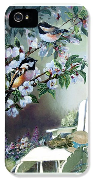 Chickadees In Blossom Tree IPhone 5s Case by Regina Femrite