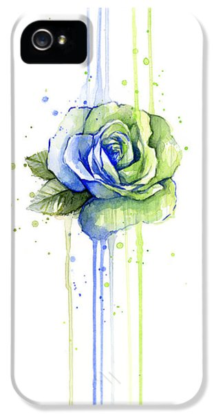 Hawk iPhone 5s Case - Seattle 12th Man Seahawks Watercolor Rose by Olga Shvartsur