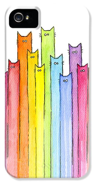 Cat iPhone 5s Case - Cat Rainbow Watercolor Pattern by Olga Shvartsur