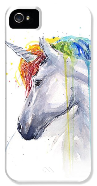 Unicorn Rainbow Watercolor IPhone 5s Case by Olga Shvartsur