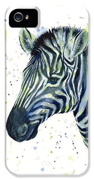 Zebra Watercolor Blue Green  IPhone 5s Case by Olga Shvartsur
