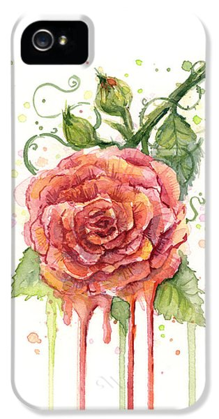 Red Rose Dripping Watercolor  IPhone 5s Case by Olga Shvartsur